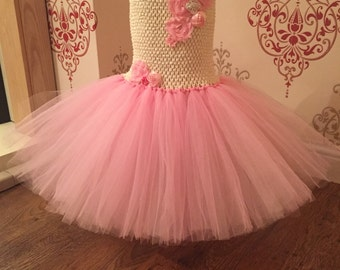 SALE  Ivory and pink flower girl dress