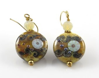 Brown Ivory Lampwork Earrings, Rustic and Earthy Earrings, Boho Earrings