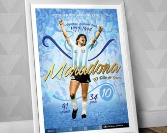 Diego Maradona / Argentina National Team / Illustration Poster Print