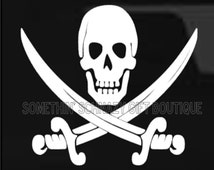 Skull and Swords Car Decal, Skull Car Decal, Vinyl Decal, Gift For Man, Gift For Him, Skull Decal, Laptop Decal, Tablet Decal, Crossbone