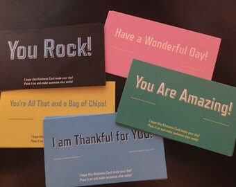 Kindness Cards, RAK Notes, Random Acts of Kindness, Compliment Cards, Lunchbox Notes, Pass it on, Compliment Cards