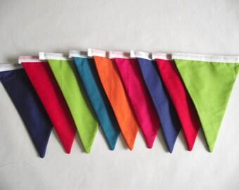 Bright Rainbow Fabric Bunting