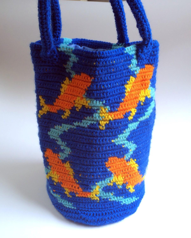 Koi fish purse tapestry crochet for Koi fish purse