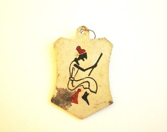 Halloween Witch Pendant - Witch on Broomstick - Jewellery Making - Vintage Pendant
