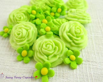 24 Edible green roses and flowers birthday cake decorations cupcake toppers sprinkles