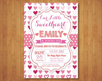 Valentine Birthday Invitation. Our Little Sweetheart Birthday Invitation. Girl or Boy 1st First Birthday Party. Printable Digital.