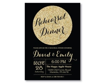 Rehearsal Dinner Invitation. Wedding Rehearsal Party Invitation. Gold Glitter. Glam. Black and Gold. Dinner. Printable Digital.