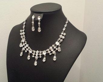 Bridal Jewelry Set, Necklace Earring Set, Rhinestone Jewelry