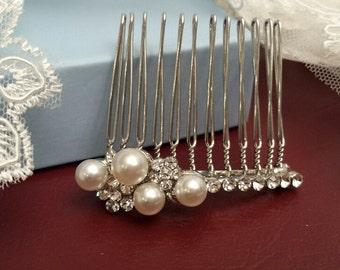 Hair Comb Pearl-Rhinestone, Bridal Hair Comb, Wedding Hair Piece