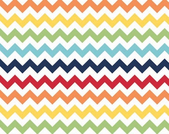 Small Chevron Rainbow by Riley Blake Designs - Jersey KNIT cotton lycra spandex stretch fabric - choose your cut