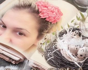 U CHOOSE COLOR Chiffon hair bow Headband Shabby Chic vintage fabric know bow girl/women headband
