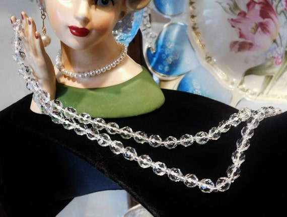 Crystal Glass Necklace Faceted Glass Beads Beaded Mid Century Midcentury Antique Necklace Art Glass Necklace Wedding Bride Bridal Jewelry