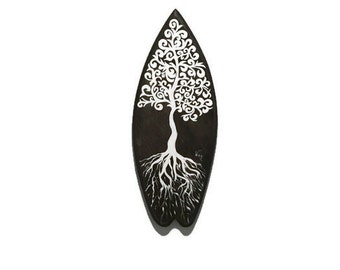 Mini surfboard - Surfboard - black and white painting - small surf board - surf board - Surf Art - Surf Decor - Tree of Life