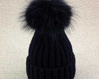 Fuzzy Fox Fur Ball Hats Wool Cotton Knit Black/White Large POMPOMS Hat Women Fashion Accessories Fox Fur Ball Pompoms&Hat with Same Color