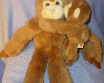 """Vintage Dakin Monkey plush Mommy & Baby 15""""  1991"""