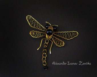 Dragonfly Pin, brass Dragonfly Pin, Wire Wrapped Dragonfly Pin, dragonfly brooch, wire wrap, dragonfly accessories, insects, bug,  jewellery