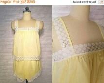 ON SALE Lemon & White Crochet Lace Sleep Set | vintage 1960s Pajama Set | 60s Nightwear