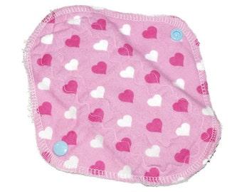Pink heart reusable, washable pantyliner