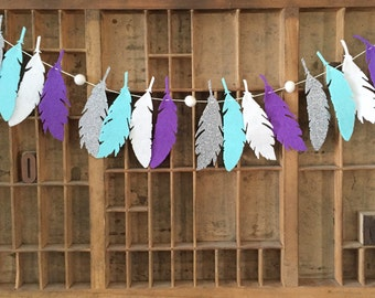 Feather Garland - Santa Fe - Felt Garland, Nursery Decor, Boho Decor, New Mexico, Wall Decor, Girls Room Decor, Baby Nursery