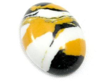 Oval Rainbow Stone Cabochon. Black and Yellow Focal Bead for Bead Embroidery. White Rainbow Stone Cabachon with Yellow and Black 18mm x 13mm