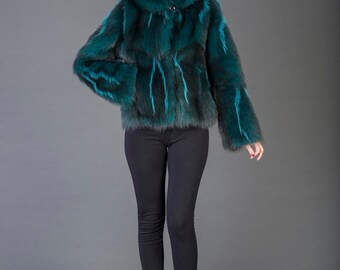Luxury gift/Green Opossum Fur Coat/Fur jacket full skin / Wedding,or anniversary present