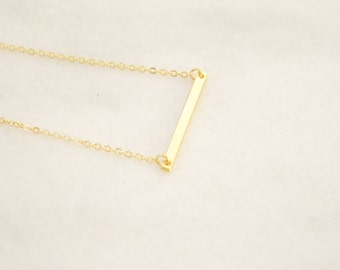 Gold Bar necklace - Layering Necklace - Delicate Charm necklace - Minimalist and Dainty Necklace