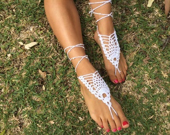 Crochet, beaded, white or choose your colour, barefoot sandals / boho wedding / beach style / nude shoes / beach wedding / foot jewellery.