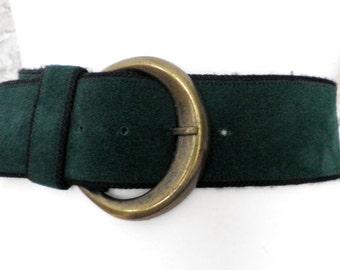 Vintage Dark Green Suede Belt & Brass Buckle