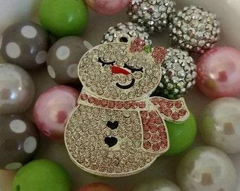 Rhinestone Snowgirl Necklace Mix 20mm beads