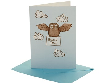 Owl Thank You Party Card