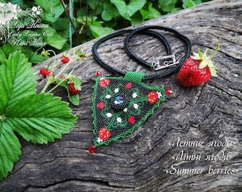 Strawberry patterns,  Triangle Peyote pattern, Strawberry peyote, Spring patterns, Summer patterns, Delica beads, Peyote stitch, Seed beads