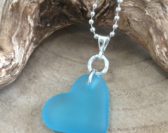 Seaham Pale Aquamarine Sea glass hand carved heart and sterling silver pendant