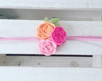Flower headband, Garland headband, Rosettes headband, Flower headband, Couture headband, Birthday headband, infant headband