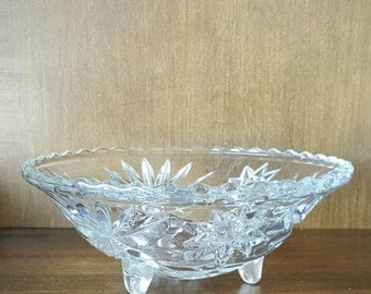 Anchor Hocking Prescut Clear Footed Bowl - Star of David - Bon Bon - 6 7/8""