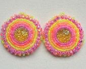 Native American Earrings, Seed Bead Earrings, Pink and Yellow Earrings, Beaded Earrings, Ojibwe Beadwork, Regalia