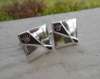 Vintage Silver Crown Cufflinks. 1980s. Gift For Dad, Mom, Wife, Husband.