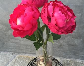 """Faux Peony Silk Floral Arrangement, Faux Water, Artificial Flower Arrangement, Wedding Flowers, Valentine's Flowers, Home Decoration - 17"""" T"""
