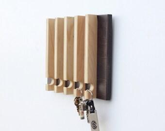 Modern Key Rack - Modern Entryway Wall Storage, Gift for Men, Natural Wood, Key Holder, Hanging Key Rack, Key Hook, Key Holder for Wall