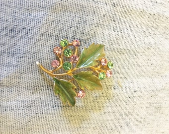 Vintage Gold Tone Pink and Green Rhinestone Brooch with Leaves, Rhinestone Pin