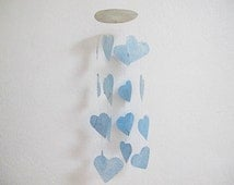 Unique Natural Pearl Heart Sea Shell Mobile Blue Ocean Sound Fancy Wind Chime Sand Beach Summer Sweet Wall Hanging Home Decoration Ornament