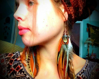 Pheasant & Rooster feather earrings