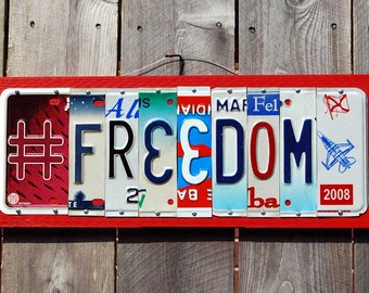 FREEDOM  Rustic patriotic license plate sign