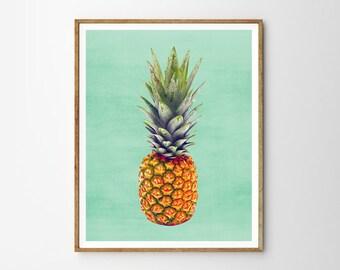 Pineapple print, Tropical decor, Mint, Pineapple, Modern art, Wall decor, Digital art, Printable, Digital Instant Downloa 8x10, 11x14, 16x20