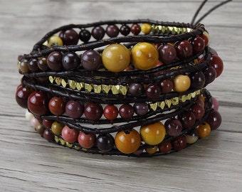 Gemstone wrap Bracelet Mookaite bead bracelet boho wrap bracelet natural stone bead bracelet gemstone Bracelet yoga bead bracelet SL-0280