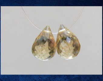 Citrine -  2 Faceted teardrop drops pair. 8x12mm. Set of two natural luxe gemstone beads. #CIT-004