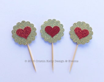 10 Scallop Glitter Heart Cupcake Toppers. Valentine's Day Party. Birthday Party Decor. First Birthday.