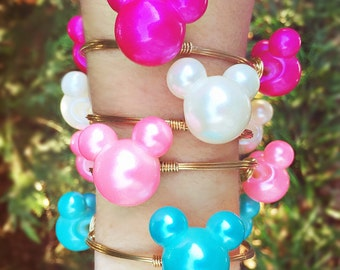 Pearl Mickey Minnie Mouse Disney inspired Bangle Bracelet Jewelry Minnie Mouse inspired