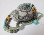 108 Mala Beads Gemstone Green Aventurine Unakite Mala Necklace Hand Knotted Mala Mantra Meditation Beads Healing Zen jewelry Yoga Japa mala