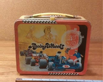 Vintage Thermos Racing Wheels Metal Lunch Box