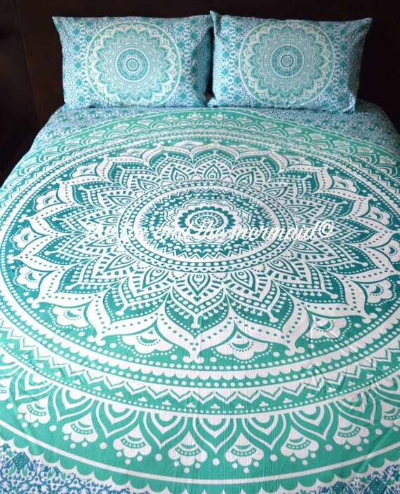 Green Ombre Mandala Tapestry Bed Sheet Amp Pillow Cases